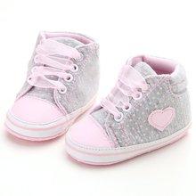 Младенческой Новорожденных Новорожденных Девочек Горошек Сердце Осень Шнуровке Первые Ходунки Кроссовки Обувь Малыша Классические Повседневная Обувь