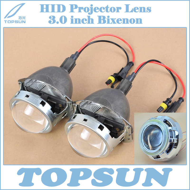 Free Shipping 3 Bifocal Q5 Projector Lens, 35W HID bulb, Ballast, COB Angel Eyes and Shroud, for H1 H4 H7 H11 9005 9006 socket gztophid 3 bifocal q5 projector lens 35w hid bulb shroud and high low beam control wire for h1 h4 h7 h11 9005 9006