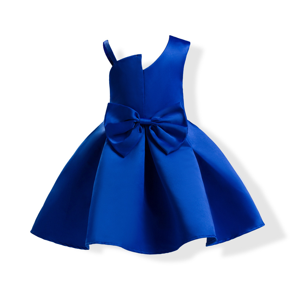Blue Baby Girls Trendy Daily Party Christmas Dress Kids Clothes Toddlers Bowknot Casual Pretty Frocks