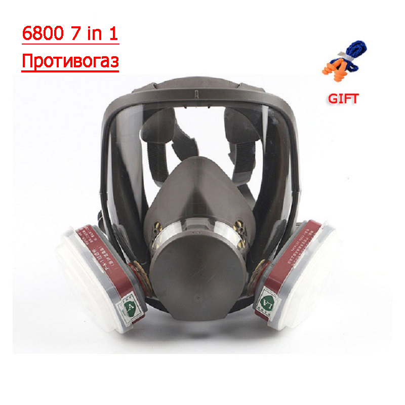 6800 7 In 1 Gas Mask Full Face Mask For Organic Acid Gas Protection Smear Chemical Spray Formaldehyde Mask Gas Activated Carbon