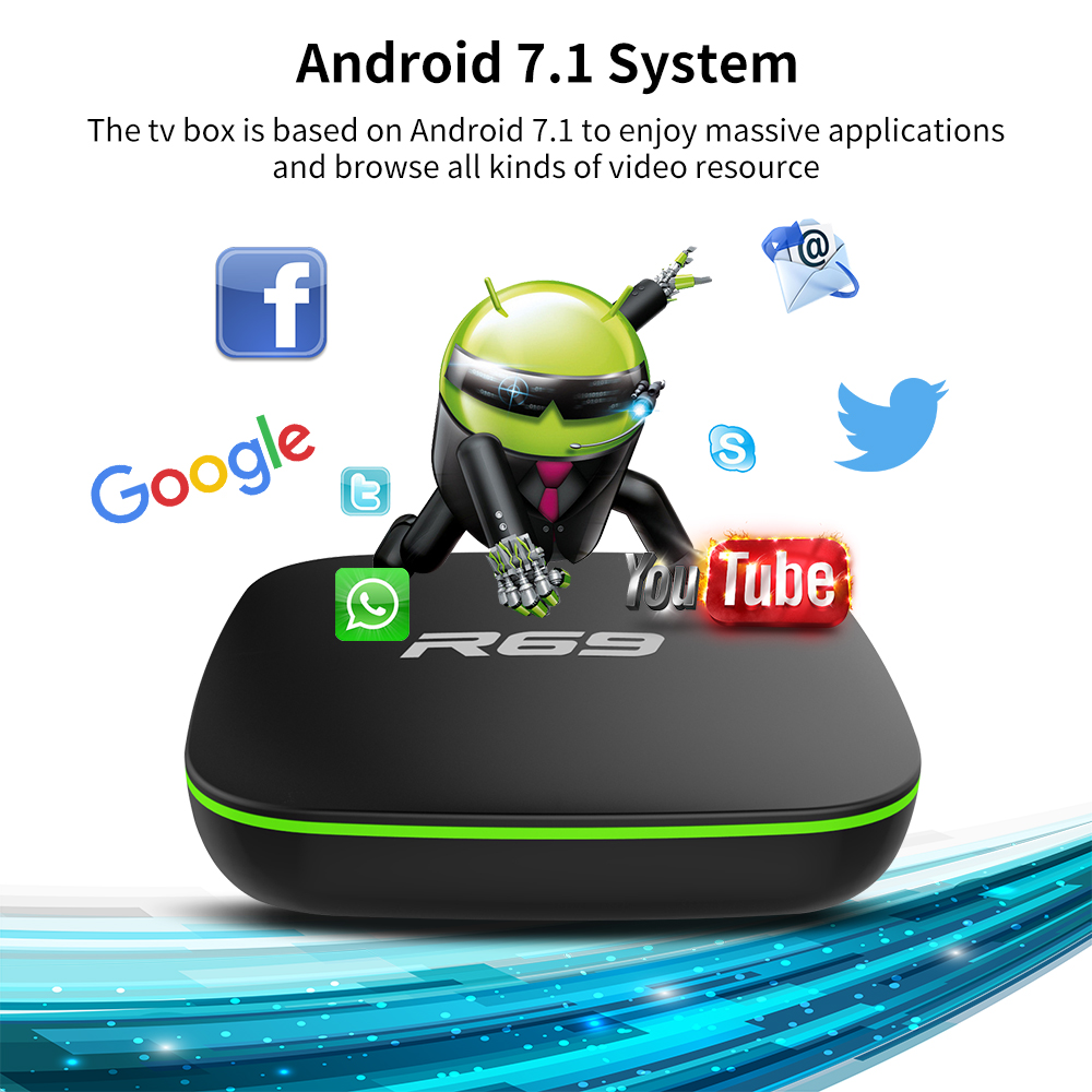 Mini R69 Android 7.1 Smart TV Box 1GB 8GB Allwinner H3 Quad-Core 2.4G Wifi Set Top Box 1080P HD Support 3D Movie Suppot IPTV Box