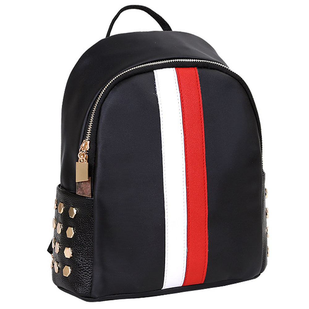 Classic PU Stripe Back School Bag Black Leather Unisex Zipper Backpack Cool Teen Travel Satchel Rucksack Carrier drop shipping