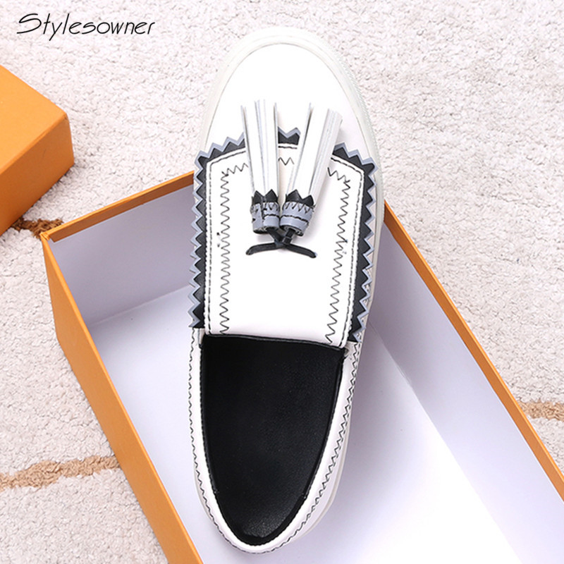 Stylesowner Women 2018 New Tassel Slip On Platform Casual Loafers Genuine Leather Fold Leather Loafer Shoes Fringe Striped Shoes de la chance women fashion platform shoes genuine leather slip on casual shoes loafers flatform wedge shoes skate ladies shoes