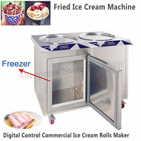 55cm Double Pans Fried Ice Cream Machine Commercial Rolled Yogurt Maker with Freezer Stainless Steel Digital Control