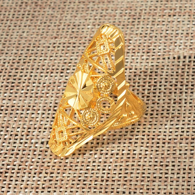 Anniyo Gold Ring for Women Gold Color Africa Ring Ethiopian Jewelry Arab India Nigeria Middle East Metal Free Size Rings #034606