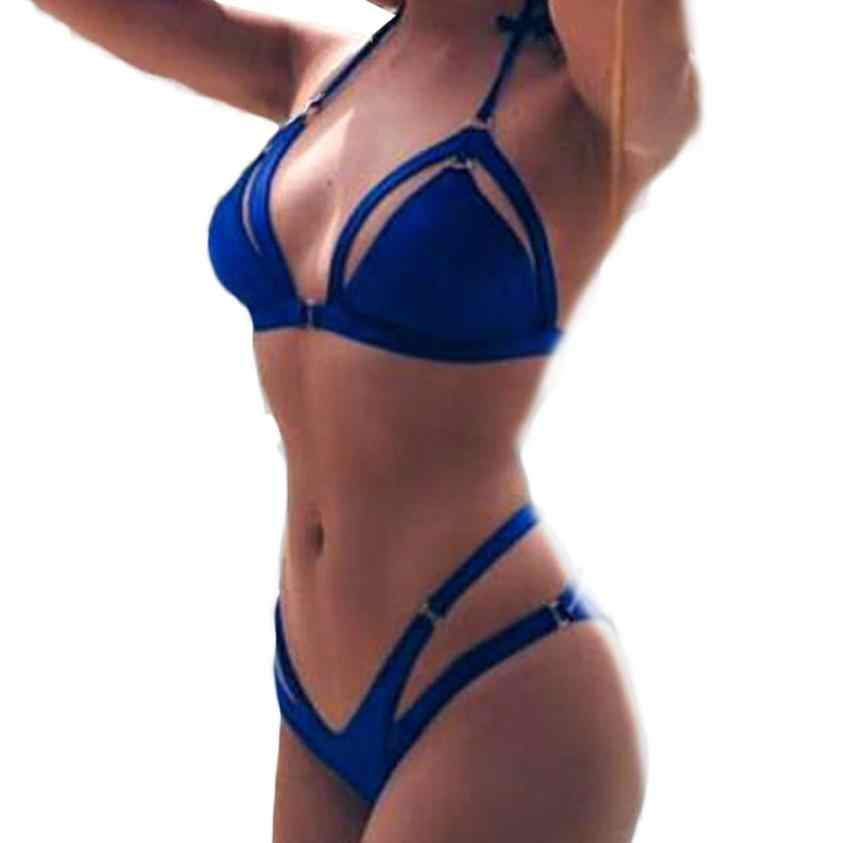 7be557fee2d JAYCOSIN 2018 Women Sexy Womens Push-Up Padded Beach Halter Bra Set Blue  Casual Ladies