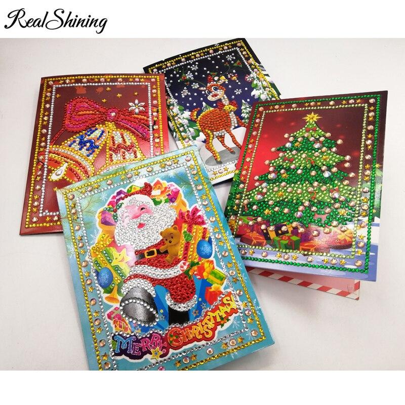 4 style diy diamond painting christmas greeting cards