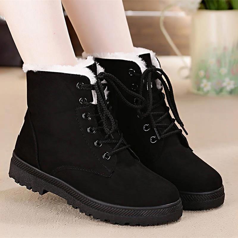Nieve Del gris Classic khaki Botines rojo Botas Mujer Faux Femeninos Mujeres Zapatos Felpa Suede Cordones Wsh2461 De azul Caliente Negro Invierno Y6wHHtq5U