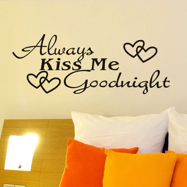 Always Kiss Me Goodnight Beautiful Decorative Removable Diy Wall ...