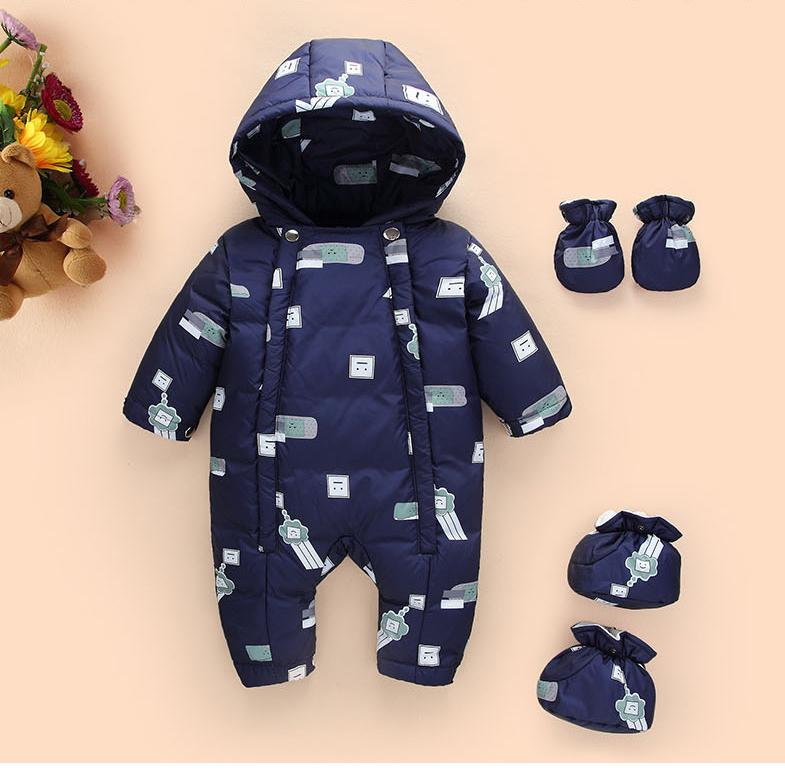 Newborn Baby Boys Girls Hoodied   Rompers   Windproof Warm Down Jacket Infant Baby Thick Climbing Clothes Children Jumpsuit Outwerar
