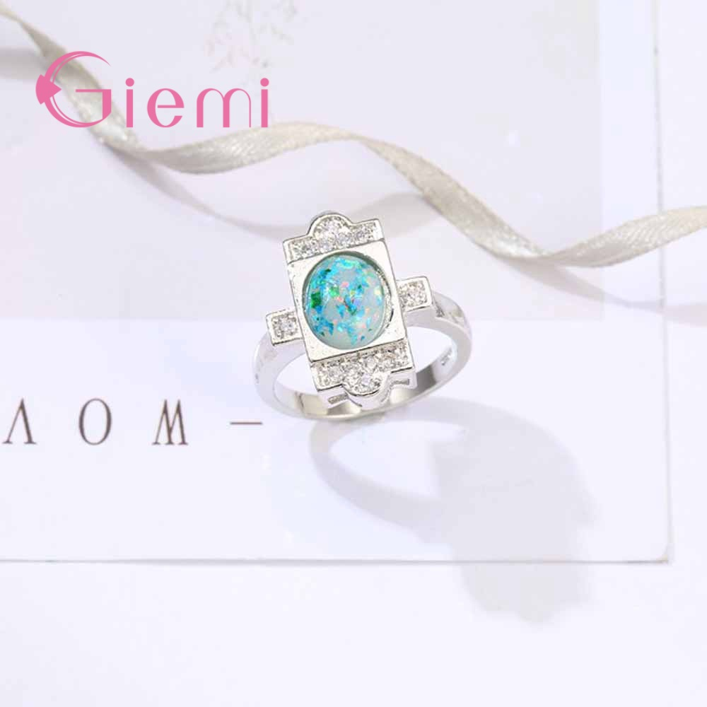 GIEMI Original 100% 925 Sterling Silver Engagement Ring Paved Ocean Blue Colorful Opal Stone Women Jewelry Brand for Wedding