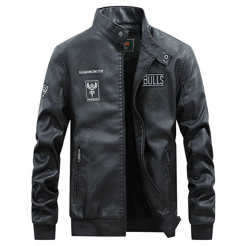 AFS Embroidery Baseball Jackets Men Letter Stand Collar Pu Leather Coats Plus Size 4XL Fleece Pilot Leather Jacket Hombre