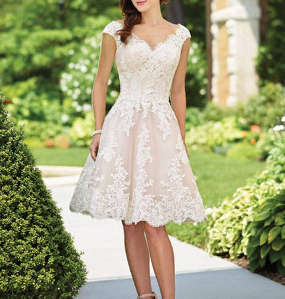 Wedding Dress Elegant Women's Wedding Short Tulle Lace
