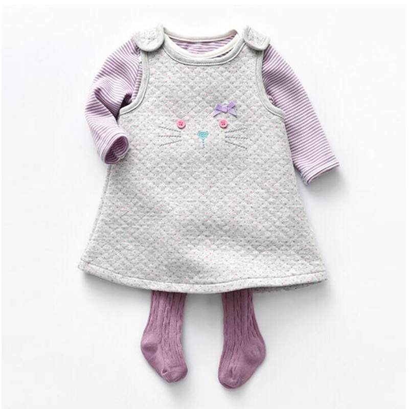 2018 Autumn Infant Clothing Baby Girl Clothing Cotton Long Sleeved Rompers + Dresses +Stockings 3pcs Baby Girls Clothes set
