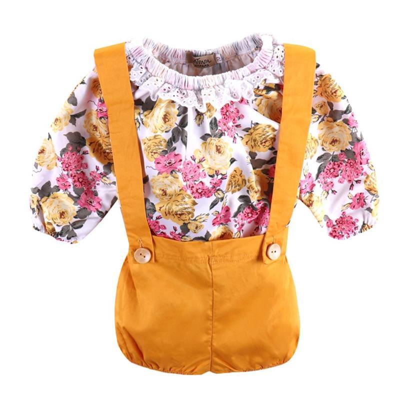 2 шт. Симпатичная Одежда для маленьких девочек младенческой Цветочный принт топы с рюшами + комбинезон шорты для новорожденных милые летние ... ...