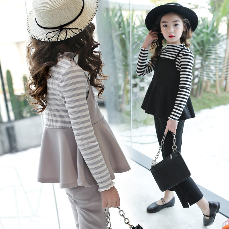2018 Children Girls Clothing Sets Teenage Girls Suit School Costume For Girls Clothes Two Pieces Striped T-shirts +Pants 13 14 T teenage girls clothes sets camouflage kids suit fashion costume boys clothing set tracksuits for girl 6 12 years coat pants