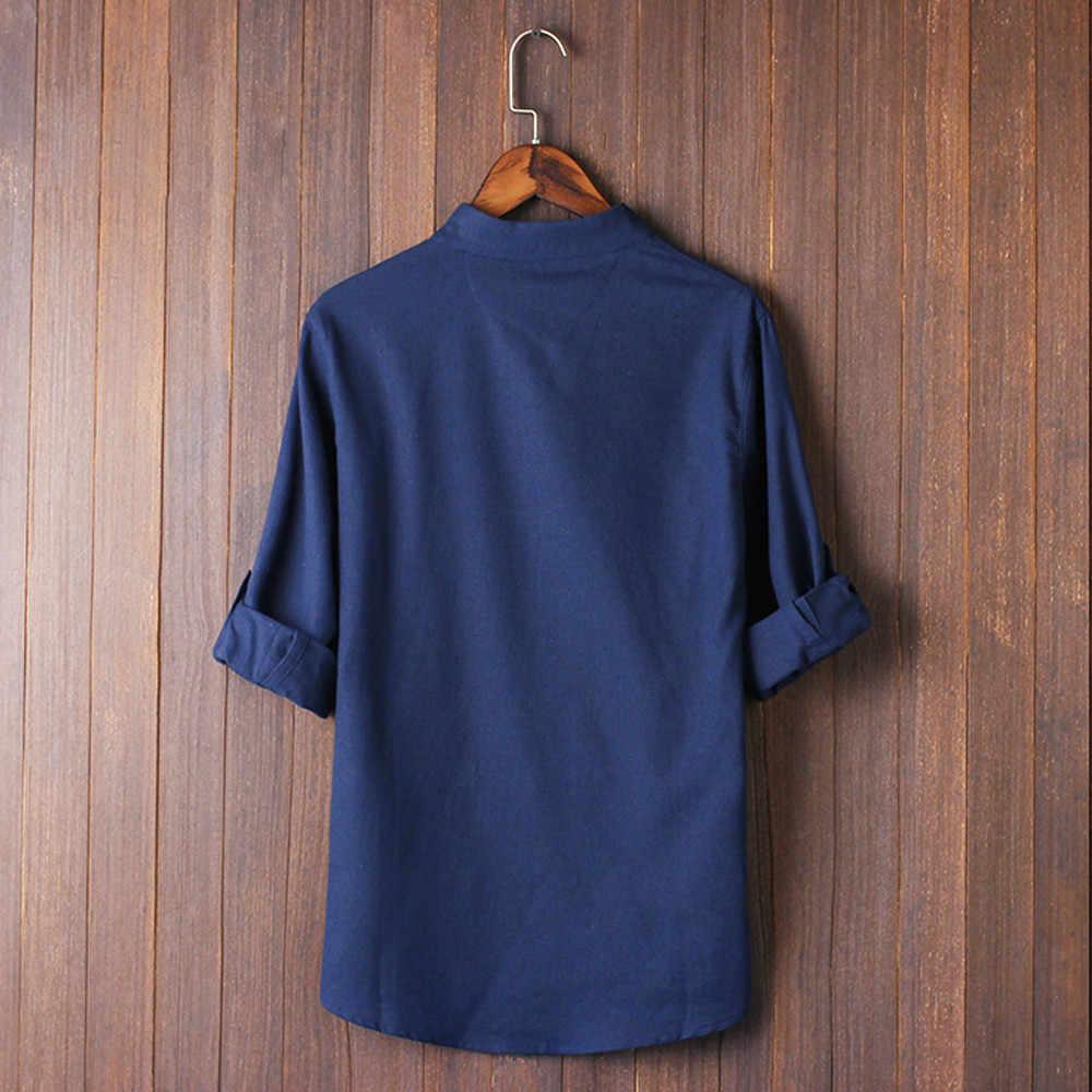 寝台 # W401 2019 ファッション男性古典的な中国風のカンフーシャツトップス唐装 3/4 袖リネンブラウス固体送料無料