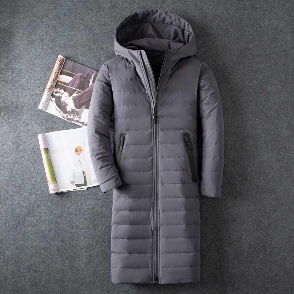 Chaqueta de plumón para hombre informal de negocios de color sólido gruesa capa de plumón de pato blanco llena de gran tamaño de invierno para hombre ropa