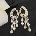 Drop Water Shape Long Earrings For Wedding Women Luxury Zirconia Earings Yellow Gold Plated Fashion Jewelry WE153