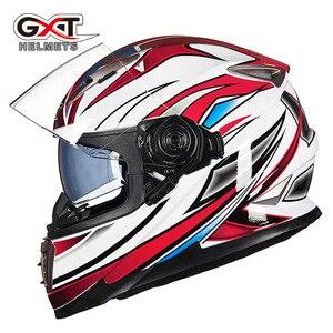 Image 4 - Winter Weiß dinosaurier GXT Doppel objektiv Volle Gesicht moto rcycle Helm, männer moto moto rbike helm mit Integrierten objektiv kann versteckte