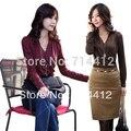 Autumn clothing slim cross collar medium-long basic shirt women's long-sleeve v-neck T-shirt dy-c511-8051