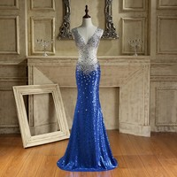 ILoveWedding Mermaid Prom Dresses Formal Blue Satin V Neck Crystal Beading Sequined Floor Length Party Bridal