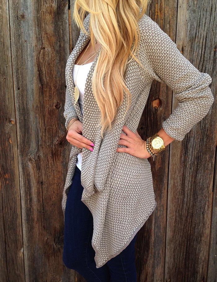 FANALA Printed Knitted Sweater Cardigans Women 2017 New Irregular Hem Cardigan Loose Sweaters Jumper Outwear Jackets Coat Tops