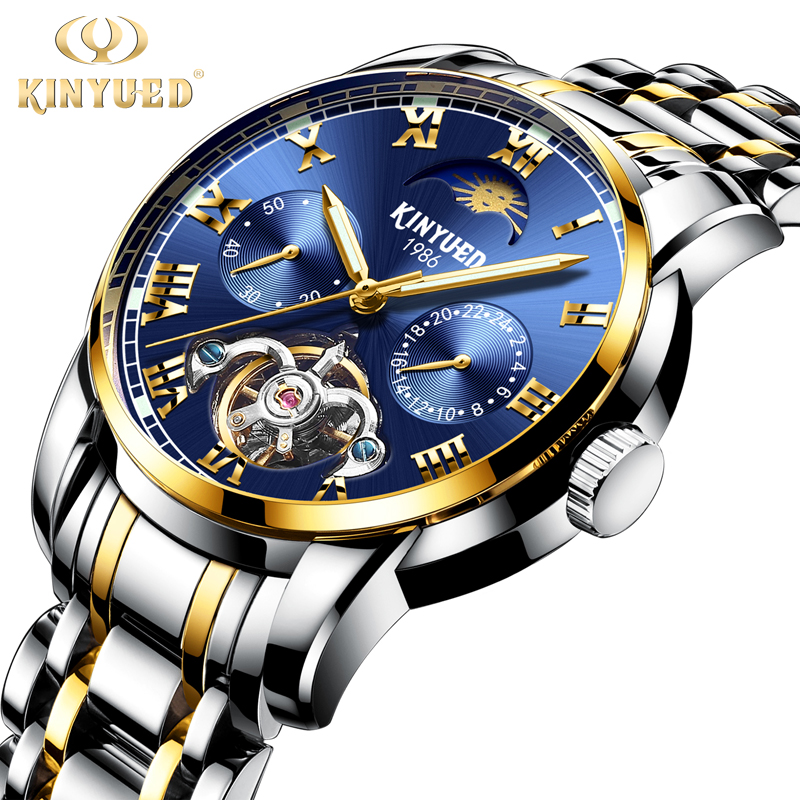 цена на KINYUED Chronograph Tourbillon Skeleton Watch Men Stainless Steel Top Brand Automatic Mechanical Watches Moon Phase montre homme