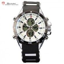 Leopard shark reloj del deporte dual time fecha digital lcd blanco analógico correa de caucho de silicona de cuarzo cronómetro reloj de los hombres/sh056