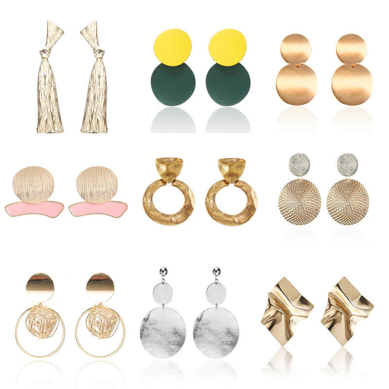 Bohemian Style Metal Drop Earrings Silver Gold Circle Earrings  Women Wholesale Pendientes Boho Wedding Party Christmas Gifts
