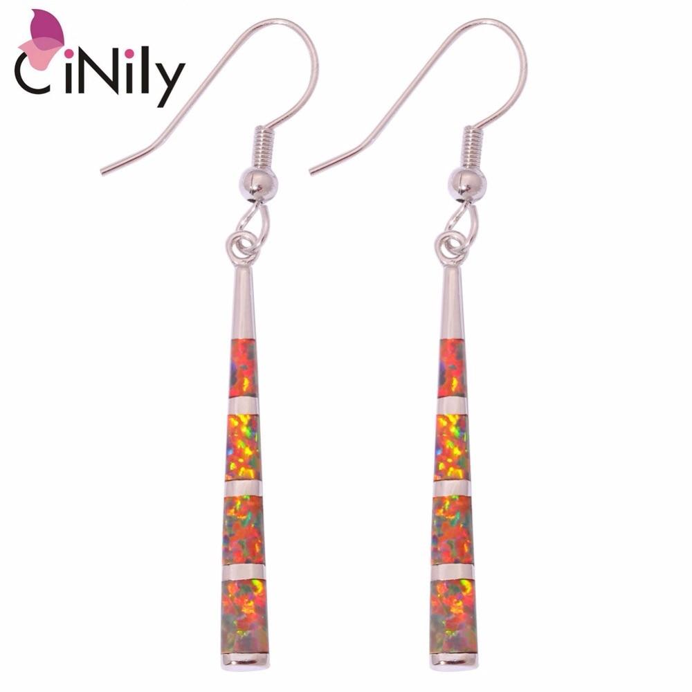 CiNily oranžna ogenj Opal kamen dolge viseče uhane posrebreno elegantno linijo uhani Vintage modni poletni nakit ženske dekleta