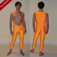 Free Shipping DHL Sexy Lycra Spandex One Piece Suits Orange Cool Wrestling Unitard For Man Open