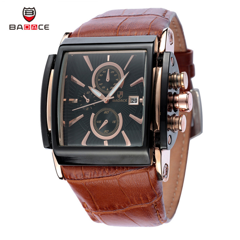 Christmas Gift BADACE Top Brand Genuine Real Leather Strap Mens Watches Casual Square Japan Movt Quartz