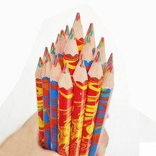 3pcs/lot 4 In 1 Colored Pencil Wooden Rainbow Color Pencils for Kids Drawing Graffiti Pen Crayon Marker Pens Art School Supplies 10pcs lot wooden pencils rainbow jumbo colored pencils 4 mixed colors pencil diy drawing pens stationery for kids graffiti pen
