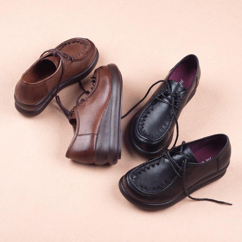 Léger Printemps Cuir Véritable Chaussures Femmes En Femme marron Lacets À Plate forme Noir Appartements Casual Design Plat Mode De qaFEvwF