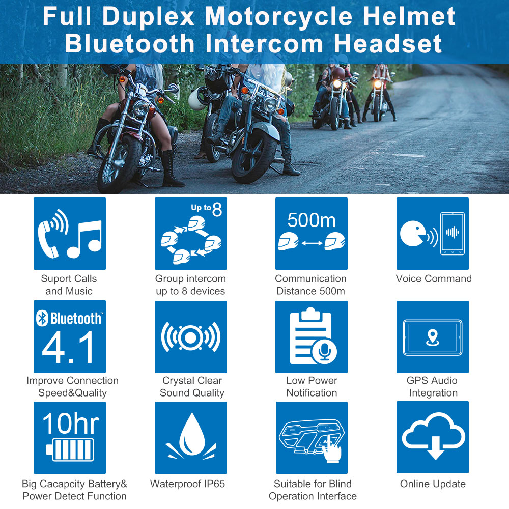 Fodsports M1 S Pro casco Intercomunicador auricular impermeable motocicleta Intercomunicador Bluetooth 8 Rider 1200M Intercomunicador - 2