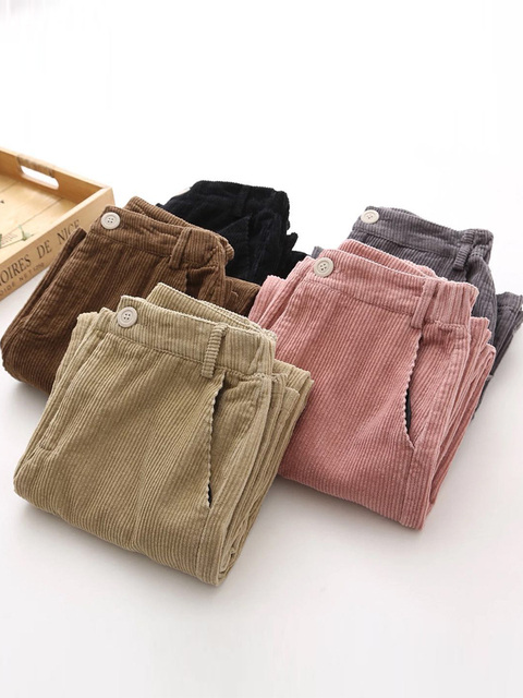 corduroy Pants For Women add velvet thicken Trousers Loose Wide leg Pant Casual Female black Pants Bell Bottom Pants Trouser