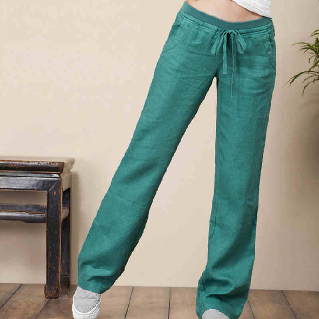 Fluid women's summer linen pants loose plus size linen long ...