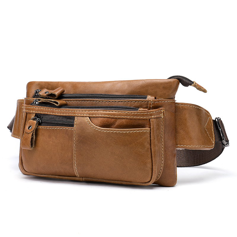 New Arrivals Men Waist Bag Genuine Leather Man Mobile Phone Pocket Male Chest Messenger Bag Hip Bum Waist Pack Male Travel Pouch in Waist Packs from Luggage Bags