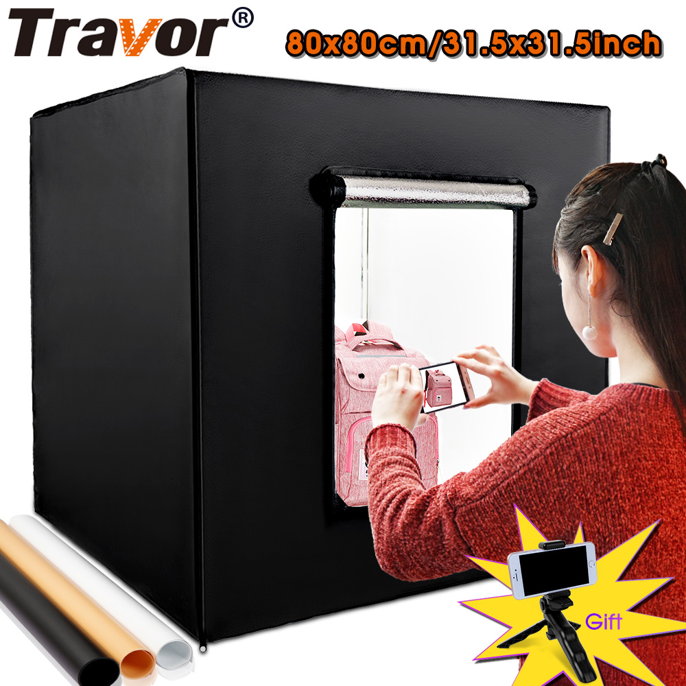 Travor 80*80cm 31.5inch Dimmable Photo Studio Lighting Softbox Lightbox Folding Light Box Photography Backdrop Shooting Tent Kit