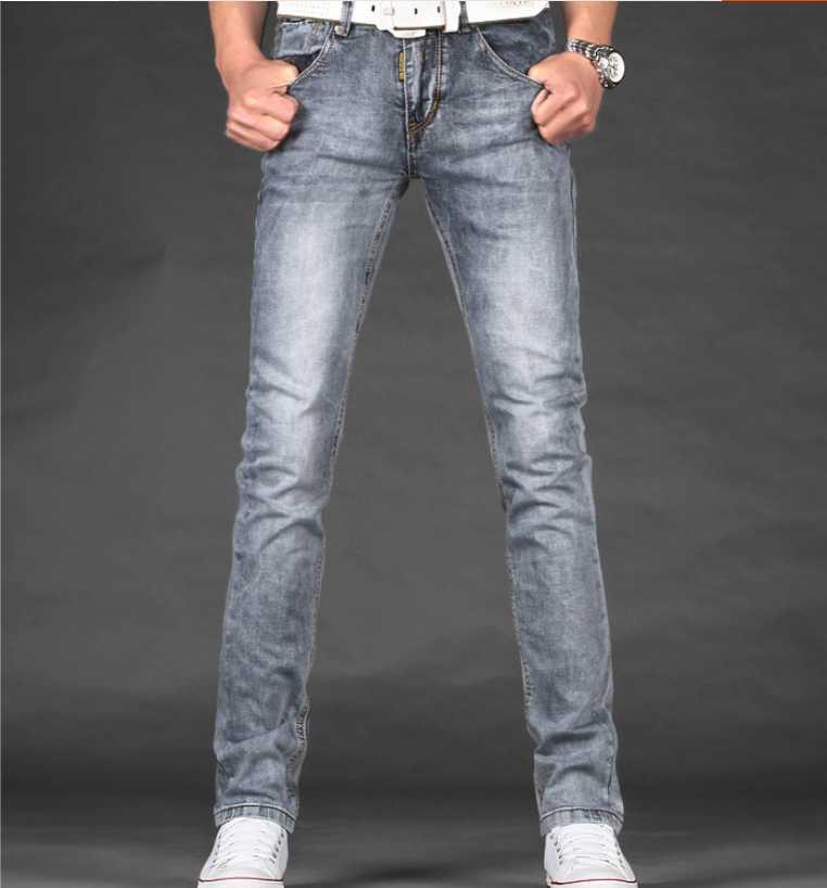 070e75f76cd9 Outono calça jeans cinza esfumaçado luz cor elastic magro denim calças  compridas dos homens em Calças de brim de Dos homens de Roupas no  AliExpress.com ...
