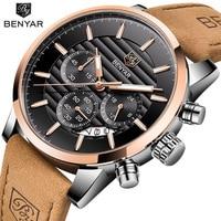 BENYAR Fashion Mens Watches Chronograph Sport Quartz Watch Men Rose Alloy Retro Leather Business Male Clock Relogio Masculino