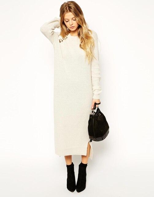 1e4c6fd3497 Мода вязаный свитер платье женщины бежевый с длинным рукавом пуловер свитера  платья свободного покроя тонкий о