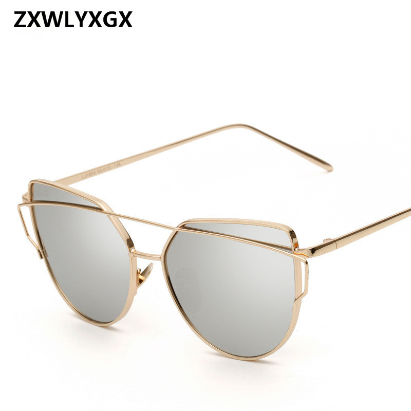 2018 Sunglasses Women Luxury Cat eye Brand Design Mirror  Rose New Gold Vintage Cateye Fashion sun glasses lady Eyewear stylish cut out street fashion two color match cat eye mirrored sunglasses for women