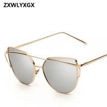 bf67903246 2018 gafas de sol de las mujeres de lujo ojo de gato diseño de marca espejo  Rosa nuevo oro Vintage de ojo de gato de moda gafas .