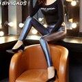 2016 Otoño Nueva Moda Para Mujer Pantalones de Cuero de Imitación de Alta Calidad Shinny PU Leggings Pantalones de Cuero de Las Mujeres Legging Elástico Femenina Couro
