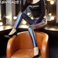 2016 Outono Nova Moda Das Mulheres De Alta Qualidade Calças De Couro Falso Elástico Feminino Shinny O Couro PU Calças Leggings Mulheres Legging Couro