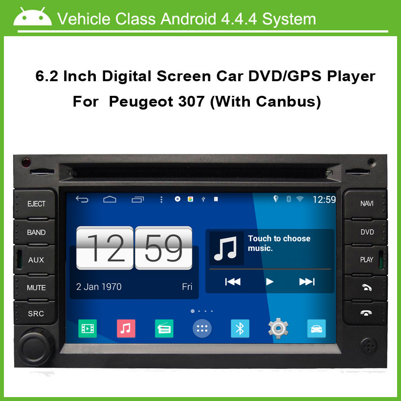 Android 4.4.4 Car DVD Player for Peugeot 307 Car gps Navigation Multi-touch Capacitive screen,1024*600 high resolution.