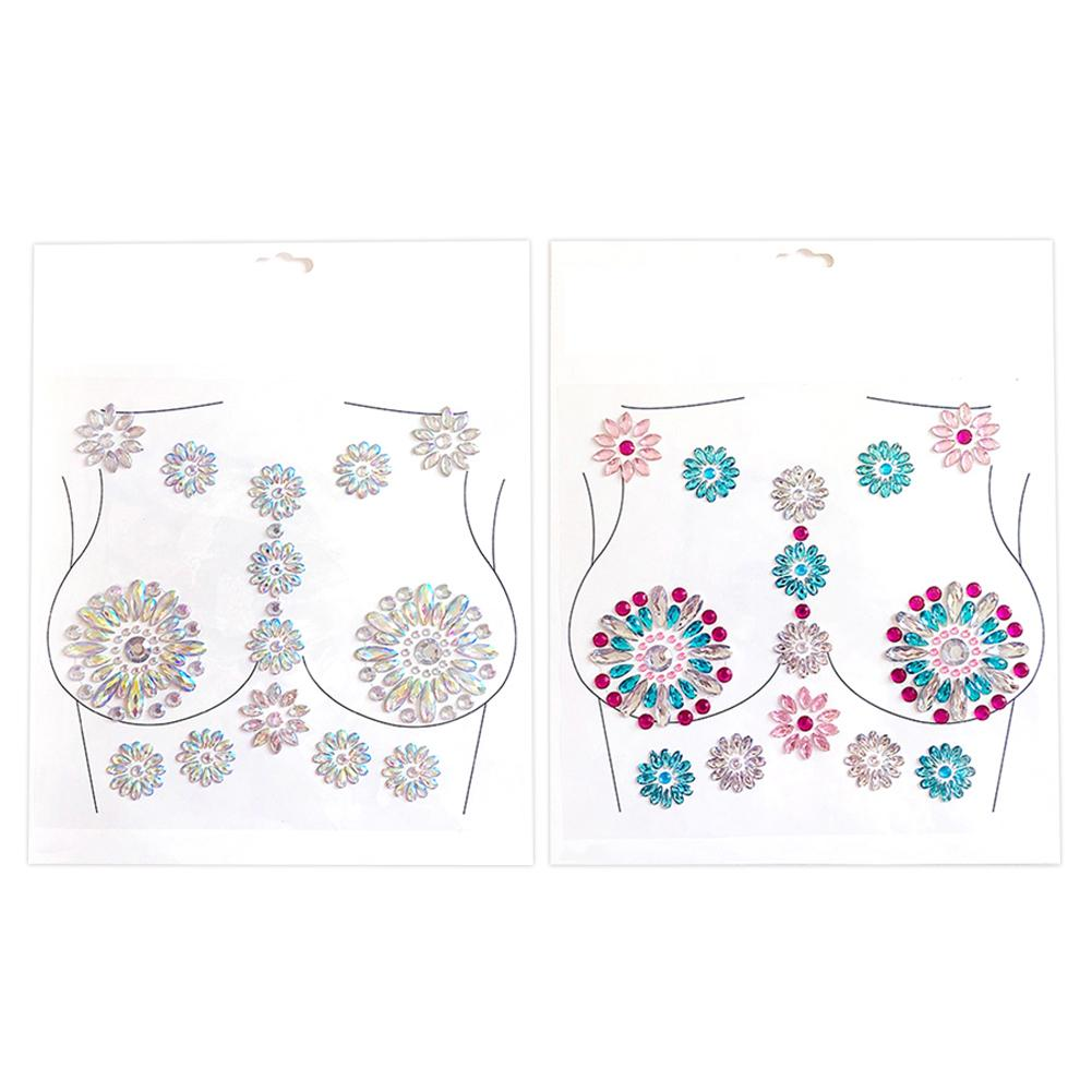 Breast Tattoo Drill Sticker Sexy Gem  Resin Drill INS Beauty Fashion  Body Tattoo Sticker For Clubbing Or Rave Party