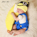 Crochet Minions Costume newborn photography props  cotton yarn Hat + Pants Set Handmade Infant Baby Photo outfits